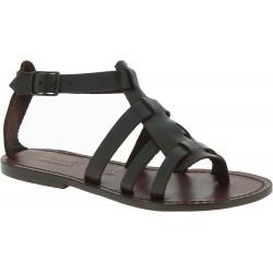 Sandales pour femme en cuir marron foncé fait main en Italie
