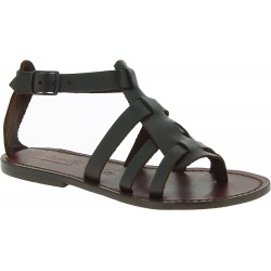 Women's sandals in Dark Brown Leather handmade in Italy