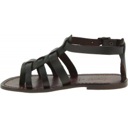 Damen-Sandalen aus dunkelbraunem Leder Handgefertigt in Italien