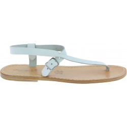 Handmade white leather thong sandals for men