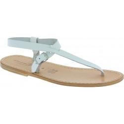 Sandali infradito in pelle bianca fatti a mano
