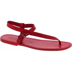 Handmade red leather thong sandals for men