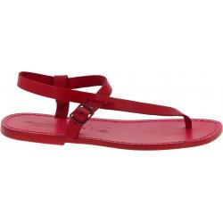 Sandali infradito in cuoio rosso fatti a mano
