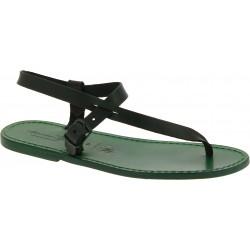 Herren Flip-Flop-Sandalen aus Grüne Leder in Italien von Handgefertigt