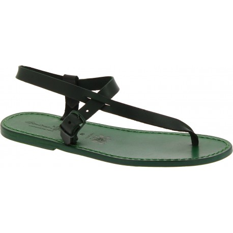 Sandalias de piel verdes para hombres hechas a mano