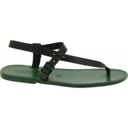 Handmade green leather thong sandals for men