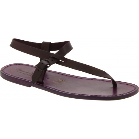 Sandali infradito in pelle viola fatti a mano
