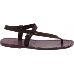 Handmade purple leather thong sandals for men
