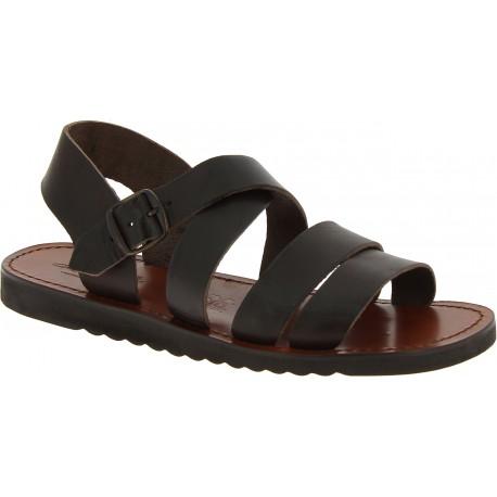 Sandales pour homme en cuir marron foncé fait à la main