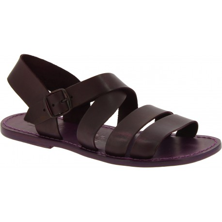 Handmade in Italy men's sandals in violet leather