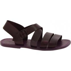 Handgefertigte Herren-Sandalen aus pflaume Leder