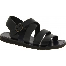 Sandali in pelle nero da uomo fatti a mano