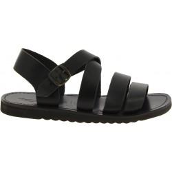 Sandales pour homme en cuir noir fait à la main