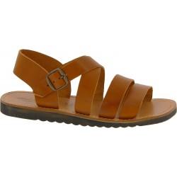 Handgefertigte Herren-Sandalen aus lederfarbig Leder