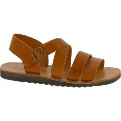 Handmade in Italy mens sandals in brown leather