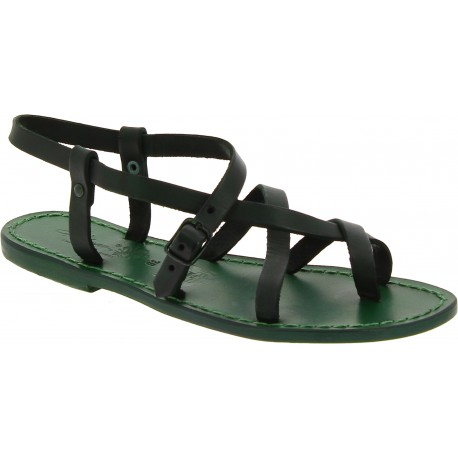 Women's italian green leather sandals handmade