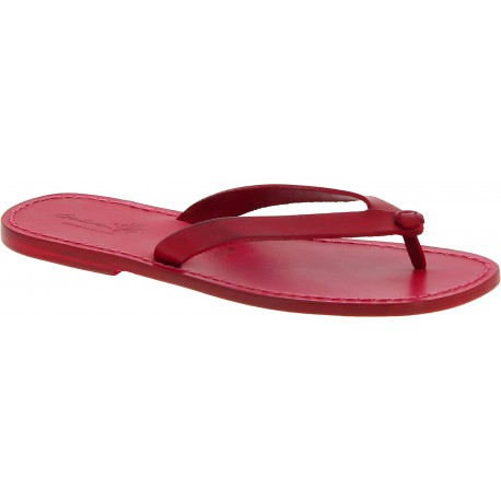 Red leather thongs sandals for men Handmade