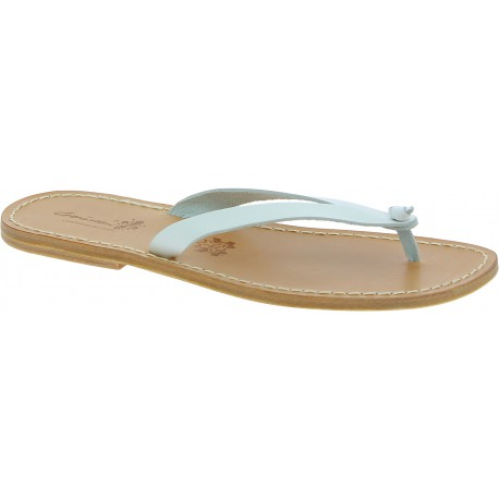 White leather thongs sandals for men Handmade