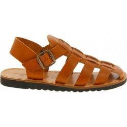 Handmade in Italy men's fisherman sandals in tan leather