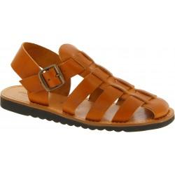 Sandalias frailes para hombre en cuero marrón hechas a mano