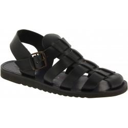 Sandales religieux homme en cuir noir artisanales