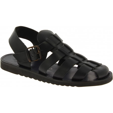 Sandali frate uomo in pelle nera fatti a mano