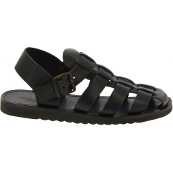 Handmade in Italy men's fisherman sandals in black leather