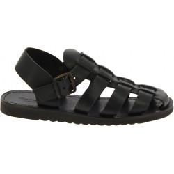 Sandalias frailes para hombre en cuero negro hechas a mano