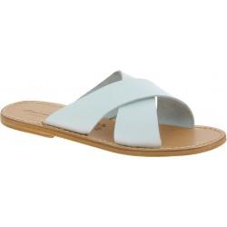 Zapatillas de hombre de cuero blanco hechas a mano en Italia