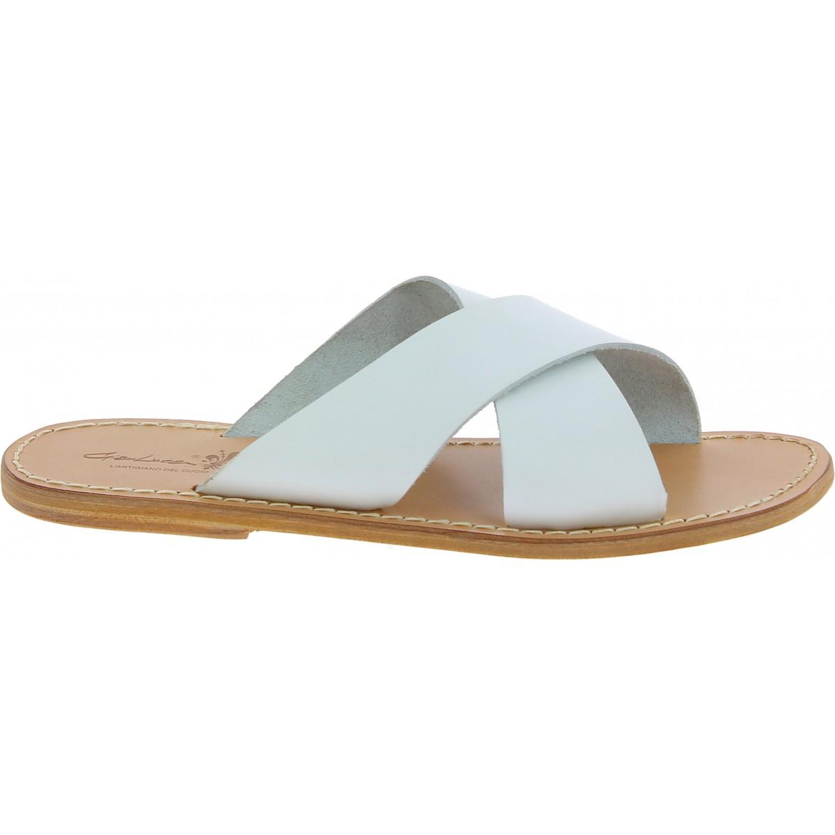 white leather slipper sandals handmade