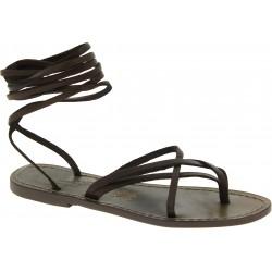 Damen Riemchen-Sandalen im schlammfarbene Leder in Italien von Handgefertigt