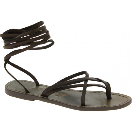 Flat strappy leather sandals mud color handmade in Italy