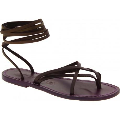 Spartiates sandales femme en cuir couleur prune artisanales fait en Italie