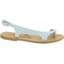 Sandales artisanales en cuir blanc pour femme