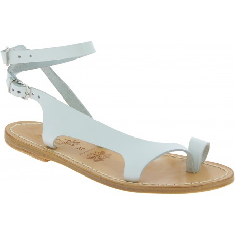 Sandali infradito da donna in pelle bianca artigianali