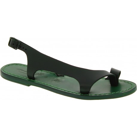 Green leather thong sandals for women Handmade in Italy
