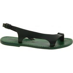 Sandales cuir artisanales pour femme couleur vert