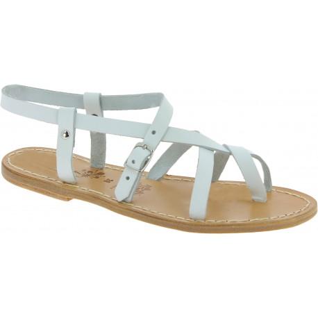 Sandali da donna in pelle bianca fatti a mano in Italia