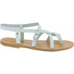 Sandales pour femme cuir blanc fait à la main en Italie