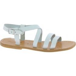 Sandalias franciscanas para hombre en piel blanca artesanal