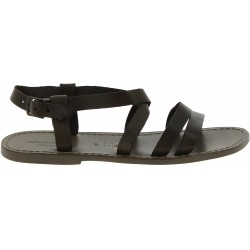 Men's mud color leather Franciscan sandals Handmade in Italy