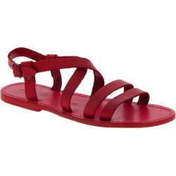 Men's red leather roman sandals Handmade in Italy