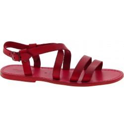Sandales romaine pour homme en cuir rouge fait à la main