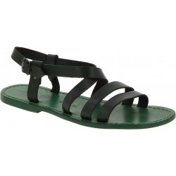 Men's green leather sandals Handmade in Italy