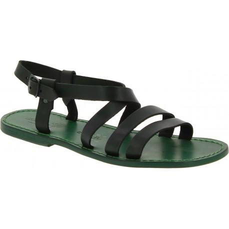 Sandalias de cuero verde para hombre Hechos a mano en Italia