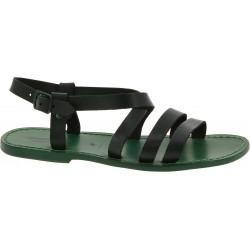 Sandales pour homme en cuir vert fait à la main