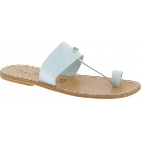 Weiße Flip-Flop-Sandalen aus Leder in Italien von Handgefertigt