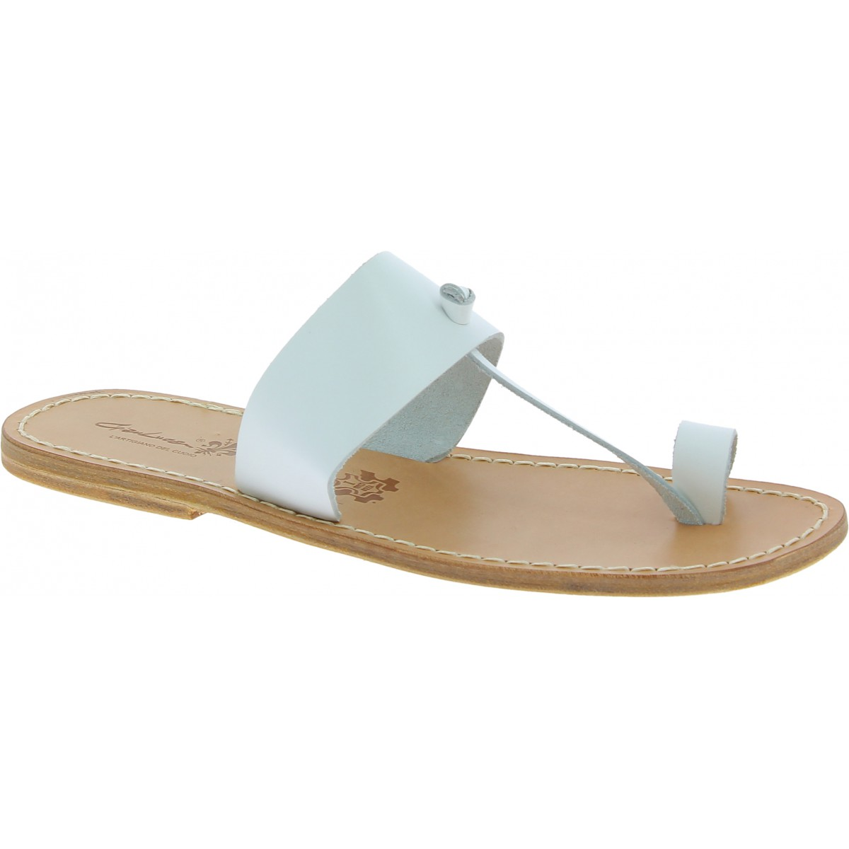 White leather thong sandals for men