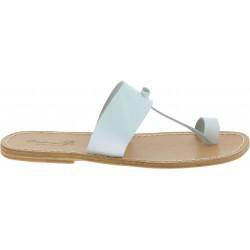 Sandals tong cuir blanc pour homme fait à la main en Italie