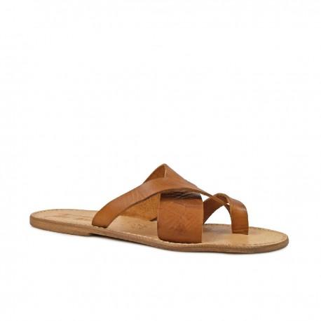Tongs sandales homme en cuir couleur cuir artisanales